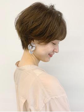 手入れ簡単な耳かけショートパーマで小顔/前髪/30代40代50代渋谷