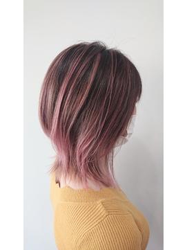 #バレイヤージュ #ピンク系カラー #淡ピンク系