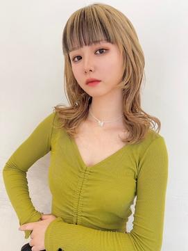 【CreBiA】バングインナーカラー×毛先カール