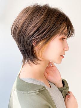 ボブルフ/ショートパーマ30代40代50代/小顔/インナーカラー/黒髪