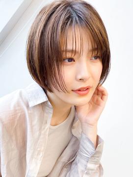 30代40代50代/ハンサムショート/小顔/マロンベージュ/前髪