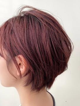 【Zina 銀座中央通り】ボルドーブラウン×夏髪ショートボブ