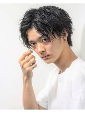 コンマバング☆黒髪マッシュソフトツイストスパイラルパーマ★