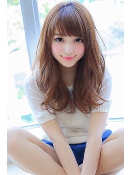 小顔前髪×ラベンダーカラーでイメチェンくびれロングスタイル