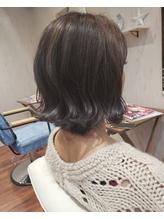 暗髪アッシュ小顔前下がり切りっぱなしボブ☆.49