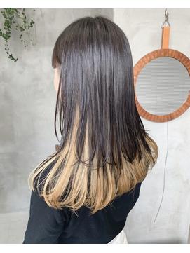 ロング ウルフ インナーカラー ブリーチ 金髪 レイヤー