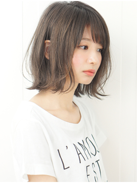 【rue京都】黒髪暗髪小顔前下がり外ハネボブアッシュブラウン☆