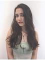 外国人風☆黒髪ロングパーマ☆透け感グレージュで柔らかヘア♪
