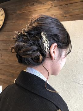 ゆるふわさ編み込みパーティーアップ(結婚式、二次会、謝恩会)
