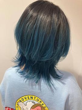 透け感 くすみブルー レイヤーミディアムミントグリーン