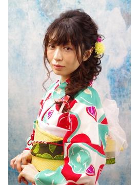 【浴衣レンタル】エレガントな編み込みサイドバックアレンジ♪