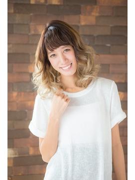 【natural-f 豊中】グラデーションカラー 無造作 ふわミディ☆