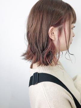 ☆ピンクベージュインナーカラー×デザインカラーボブディ☆