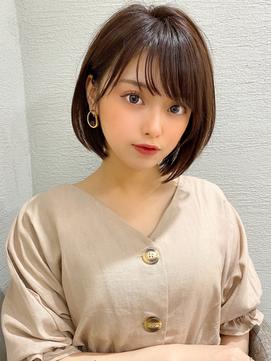 前髪パーマ/ピンクベージュ/大人かわいい/モテ髪/ボブルフ/小顔