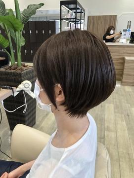耳かけショート/前髪カタログ/オリーブブラウン