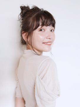ゆるふわお団子_カーキグレージュフェザーバング_28706