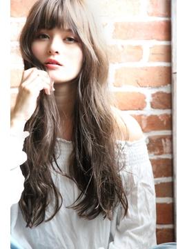 ロングヘア/デジタルパーマ/透明感/イルミナカラー/小顔前髪