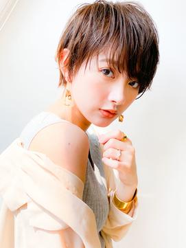 ハンサムショートパーマ/ボブルフ/小顔/マロンベージュ/前髪