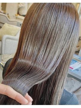 髪質改善*卵型*マロンベージュ*かきあげロング【Zina銀座】