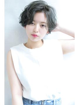 【Blanc/福岡天神】ライトグレー_ラフウェーブ_ショート