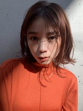 オレンジブラウン×肩ラインボブ