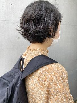 【三ツ井純】20代30代 くせ毛風ショートボブパーマ 暗髪 透明感