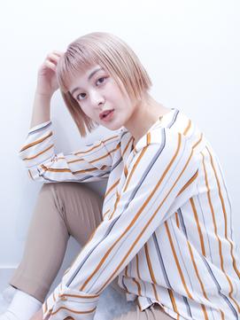 【un le pont西梅田】ぱつっとミニボブ×ハイトーンカラー◎
