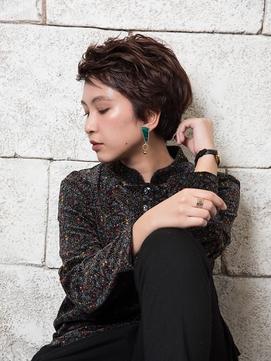 Liru&WISH吉祥寺エッジショート 黒髪ベリーショート ラベンダー