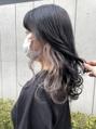 *個性的なオシャレインナーカラーベージュ暗髪黒髪地毛風カラー