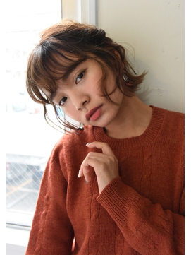 【Lepes】切りっぱなしショートボブの編み込みハーフアップ☆