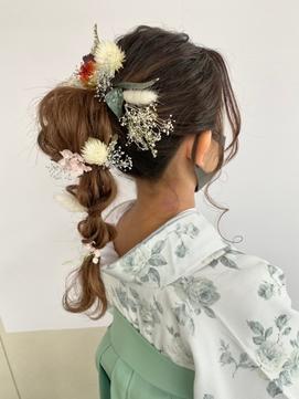 お花たまねぎヘア/ポニーテール/ドライフラワー/卒業式【仙台D】