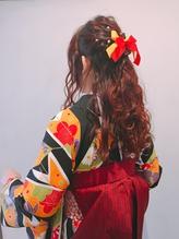 卒業式 袴着付け ヘアアレンジ ハーフアップ.57