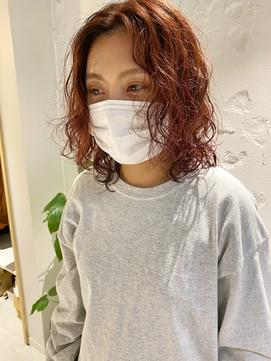 【三ツ井純】20代30代無造作パーマウルフパーマアレンジブラウン