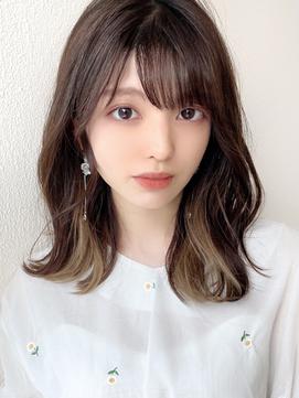 Silk-lei吉祥寺/エアリーミディ春ヘア,インナーカラー,ベージュ