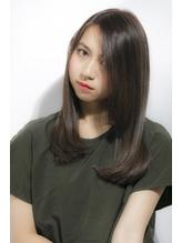 耳かけ厚めバング×グレージュ黒髪◎【HAIR PEOPLE原宿×藤森】 就活.46