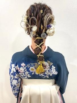 水引の飾りが可愛い!編みおろし×紐アレンジ卒業式ヘアセット☆