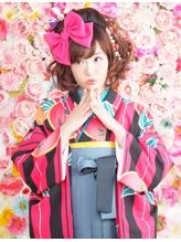 【卒業式・袴ヘア】BIGリボン×ふわふわカール☆夢館☆ 盛り髪.6