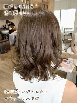 10代20代★レイヤースタイル☆透明感シアーアッシュブラウン