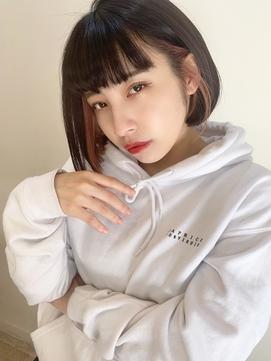 【山田】ピンクオレンジインナーカラー スリークボブ