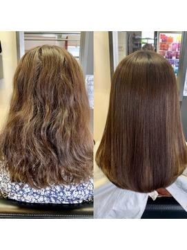 髪質改善酸熱トリートメント、カラー13000円