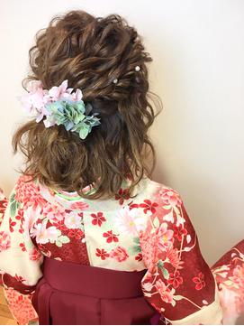 卒業式 袴 ゆるふわハーフアップ