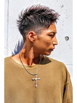 黒髪アップバング刈り上げショート【短髪ツーブロック】