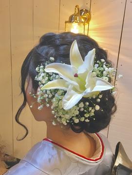 成人式生花のヘアセット