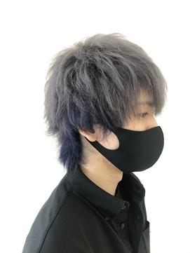 メンズグレーウルフ【ブルーのインナーカラーを添えて】