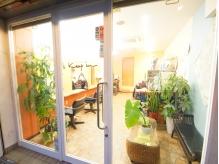 植物あふれる店内。