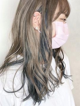 【morio原宿】ロングハイトーンカラー インナーカラーグリーン