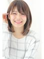ストレートツヤ小顔ミディアムヘルシーレイヤー3Dカラー田塚裕志