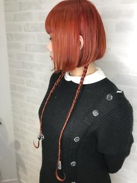 美髪ケア × ボブ × 個性的 × オレンジ