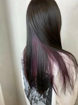 インナーカラー バイオレット 黒髪
