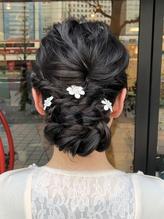 結婚式 アップスタイル花髪飾り.37